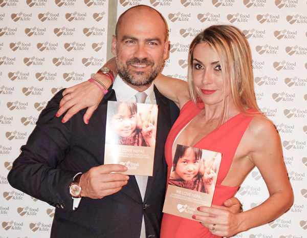 Francesca Senette e Marcello Forti Cena di gala WE LOVE NEPAL Food & Life 2014