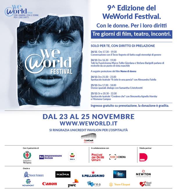 9^ EDIZIONE WEWORLD FESTIVAL Talk, dibattiti, film e mostre dedicate alle donne e ai loro diritti